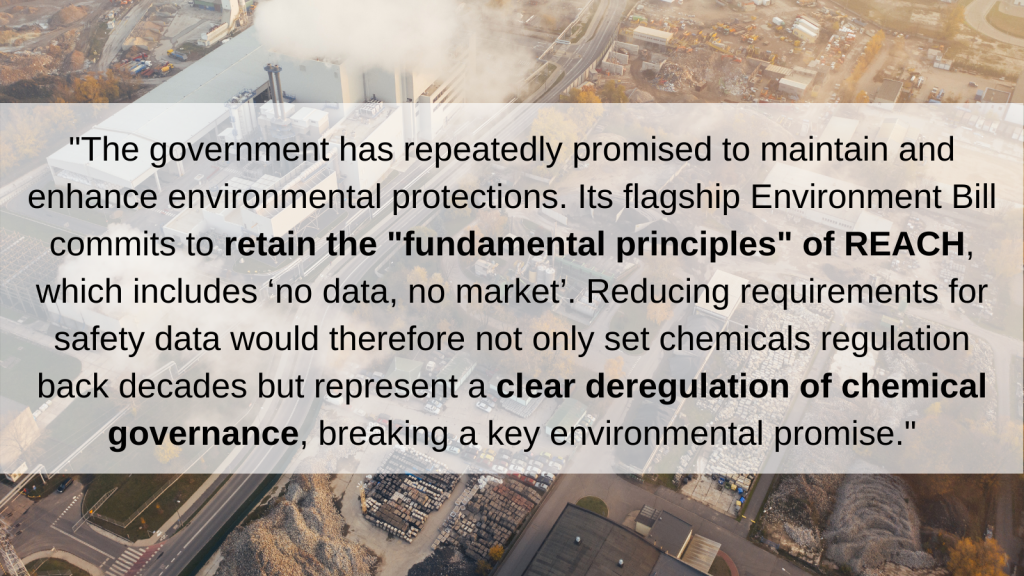 Joint NGO letter calls on UK Ministers to resist proposals to deregulate GB REACH