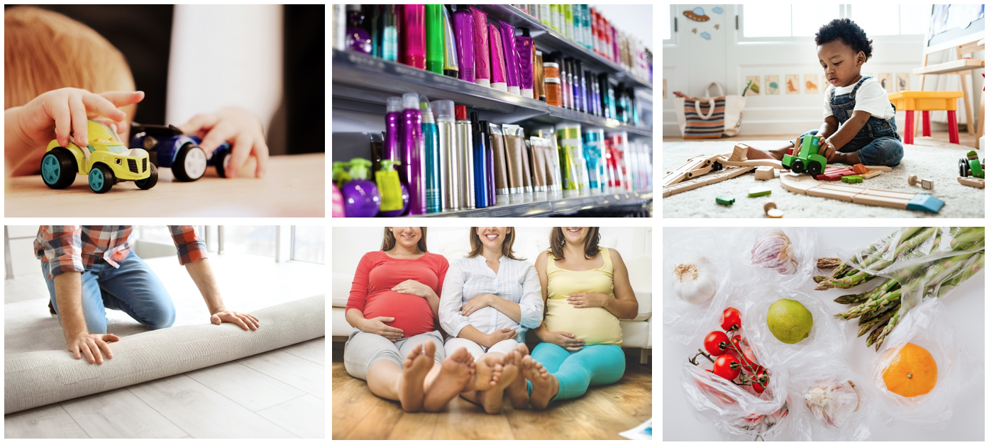 Six photos showing toys, cosmetics, carpets, pregnancy and plastic food packaging