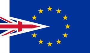 Image of an EU flag and a UK flag
